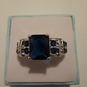 925 Silver Sapphire gemstones ring size 9 and 3/4